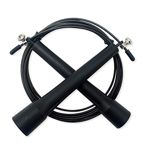 WOD Wear Speed Cable Jump Rope, Ultra Fast Fully Adjustable with Extra Hardware - Double Unders, Cross-Training, Boxing, Travel Workouts, MMA, Exercise and Fitness (Black)