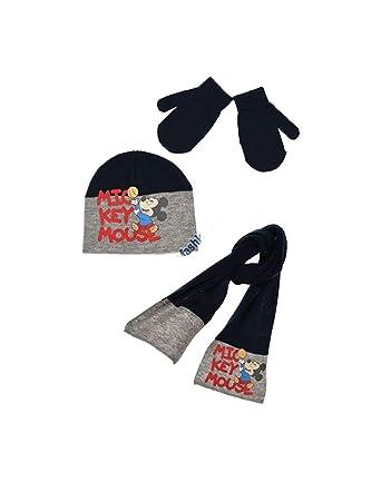 e73f6caacf8a Echarpe, bonnet et moufles bébé enfant garçon Mickey 3 coloris de 9mois à  3ans - Marine, 48 cm (9-18 mois)  Amazon.fr  Vêtements et accessoires