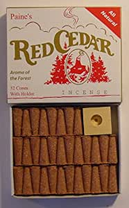 1 X Paine's Red Cedar - 32 Cones With Holder - Real Wood Incense