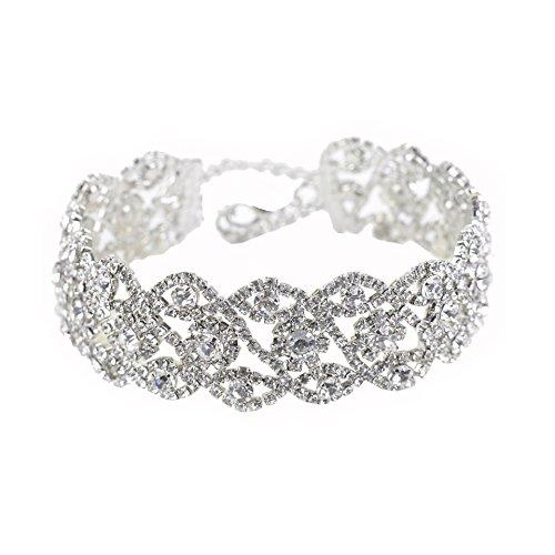 Austrian Crystal Rhinestone Choker Necklace (Geerier Multiple Rows Clear Austrian Rhinestone Crystal Choker Necklace (Rhinestone #5))