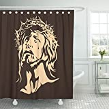 Emvency Shower Curtain 72''x78'' Polyester Fabric Christ Face Of Jesus God Cross Love Religious Bible Biblical Catholic Waterproof Adjustable Hook