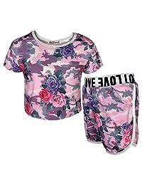 Kids Girls Crop & Short Camouflage Baby Pink Floral Print Summer Outfit Set 7-13