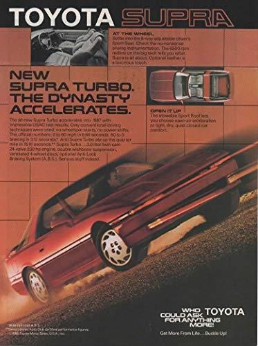 Magazine Print ad: 1986 Toyota Supra Turbo, 3.0 L, 230 hp,