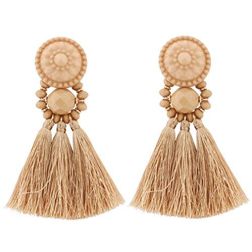 Boderier Bohemian Statement Thread Tassel Chandelier Drop Dangle Earrings with Cassandra Button Stud (Brown) (Brown Drop Earrings)