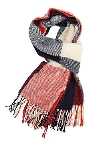HIMONE Womens Fashion Long Shawl Big Grid Winter Warm Lattice Large Scarf