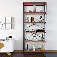 Bookcase Book Shelves Solid Wood 5 Shelf Industrial Style Metal and Wood Free Vintage Standing Storage Shelf Units