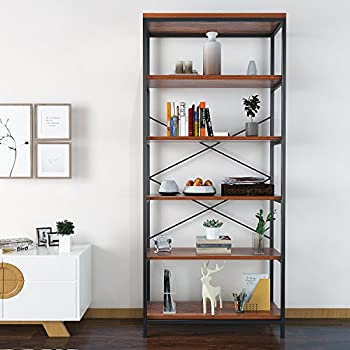 homevol bookcase book shelves 5 shelf bookshelf industrial style metal and wood free vintage standing - Free Standing Bookshelves