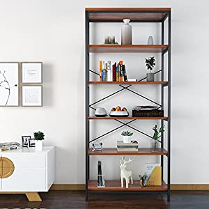 Modrine Bookcase Book Shelves,Vintage 5-Shelf Industrial Bookshelf,Vogue Carpenter Style Bookshelf Organizer,Wood and Metal Bookcase Storage Shelves