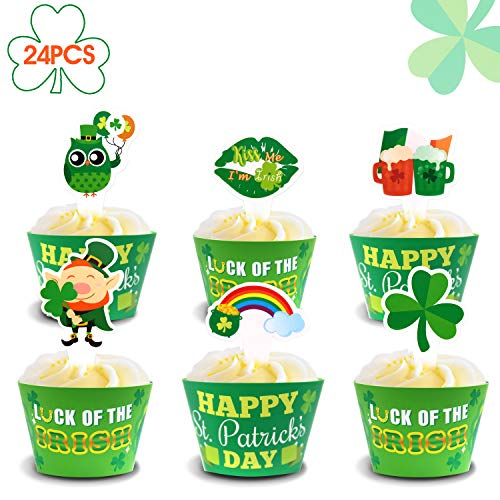 Yaaaaasss! St Patrick's Day Cupcake Toppers and Wrappers, Saint Paddy's Day Party Cupcake Decorations Supplies, Set of 24