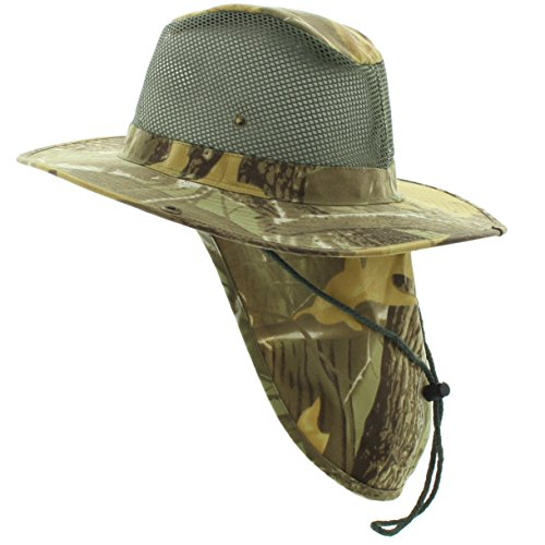 JFH GROUP Wide Brim Unisex Safari/Outback Summer Hat w/Neck Flap (Large, Brown Woodlands Camo - Mesh) - Hat Outback Cap