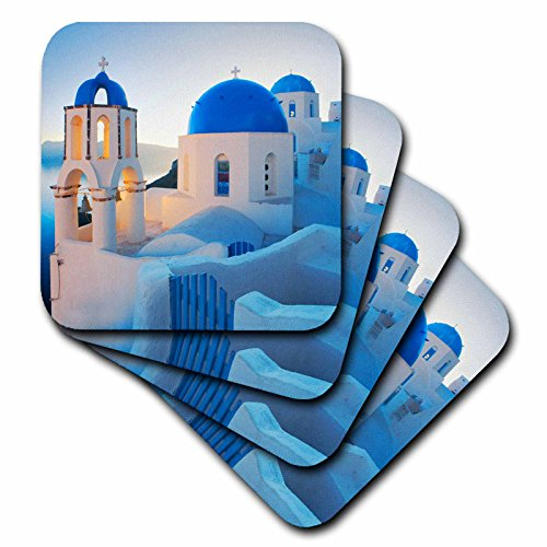 Greece, Santorini, Church Domes, Greek Architecture Soft Coasters, Set of 4 (Greek Mug)