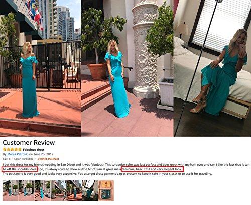 Alicepub Longue Robe De Bal Robe De Demoiselle D'honneur En Mousseline De Soie Col V Fête De Mariage Turquoise Robe De Soirée