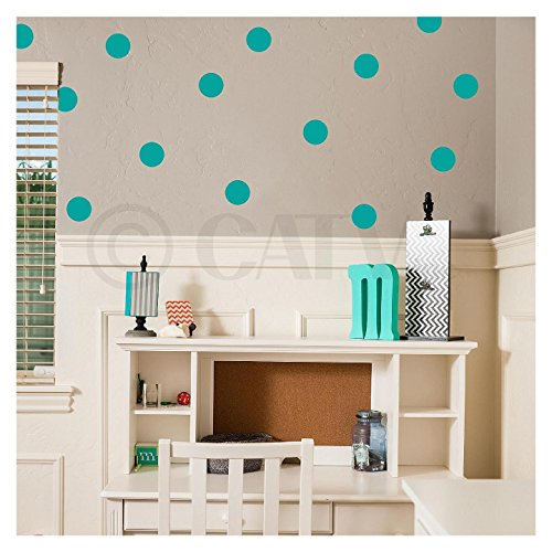 Brown Polka Dot Peel - 4x4 Set of 48 Polka Dot Circles Vinyl Decal Home Decor Wall Art (Turquoise)