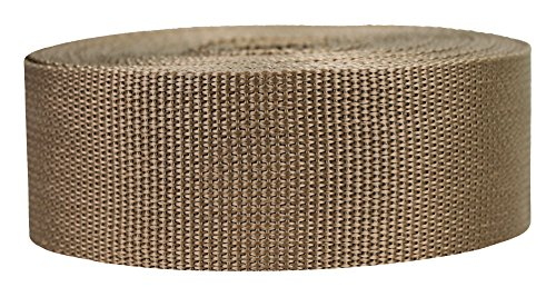 Strapworks Lightweight Polypropylene Webbing - Poly Strapping for Outdoor DIY Gear Repair, Pet Collars, Crafts - 2 Inch x 25 Yards - Tan ()