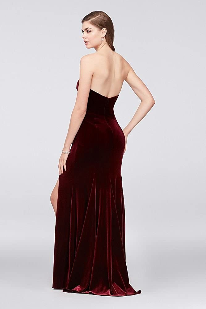 401c03aed12 Davids Bridal Stretch Velvet Sheath Prom Dress With Slanted Neckline Style  A20144 - Red - 4