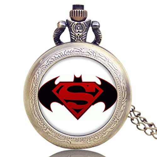 Batman VS Superman Design Bronze Quartz Pocket Watch for Men, Commemorative Pocket Watch Gift for Boys - Ahmedy Pocket Watch