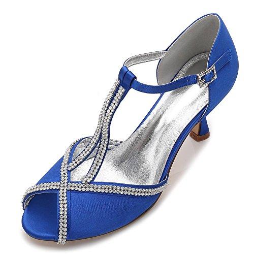 Diamant pour Nuptiale Mariage Boucle Chaussures L Blue d'été 11 Femmes de Toe Peep YC Couture mariée E17061 qwTHfgTB