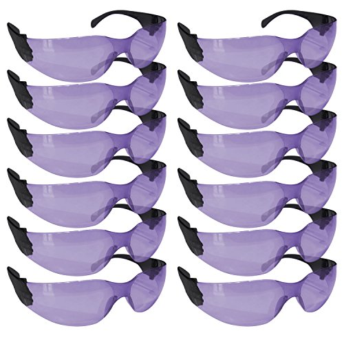 (SAFE HANDLER Protective Safety Glasses, Purple Polycarbonate Impact and Ballistic Resistant Lens - Black Temple (Box of 12))