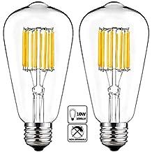 10W LED Edison Bulb 5000K Cool White 1000LM, E26 Medium Base Lamp, ST21 (ST64) Antique Style Shape, 100W Incandescent Replacement, 2 Pack