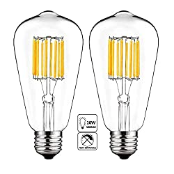 Wuhostam 10w Led Edison Bulb 5000k Cool White 1000lm, E26 Medium Base Lamp, St21 (St64) Antique Style Shape, 100w Incandescent Replacement, 2 Pack