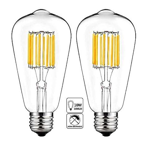LED Edison Bulb 10W,5000K Cool White 1000LM, E26 Medium Base Lamp, ST21 (ST64) Antique Style Shape, 100W Incandescent Replacement , 2 (100watt Edison Light Bulbs)