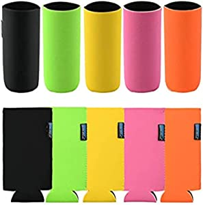 Bluecell 10 Pack Insulators Slim Can Cooler Blank Beer Sleeves Soda Cover Cooler, Great for Customization, Monograms, DIY Projects, Weddings, Parties and Events (Multicoloured 2)
