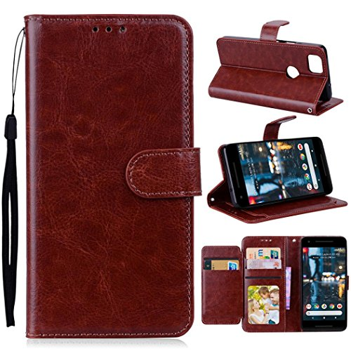 Price comparison product image Mchoice For Google Pixel 2 Case Luxury Leather Magnetic Flip Card Case Stand Cover (Brown)