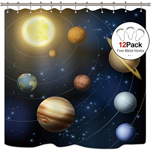 Riyidecor Planet Solar System Shower Curtain with Metal Hooks 12 Pack Universe Galaxy Space Educational Planetary Orbit Decor Fabric Bathroom Set Polyester Waterproof 72x72 Inch