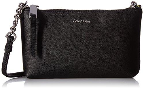 Calvin Klein Women's Hayden Saffiano Leather Crossbody Cross Body Handbag, Black/Silver, One Size
