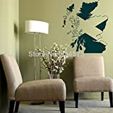 2016 NEW Map / Flag of Scotland Scottish Wall Art Sticker Decal DIY Home Decoration Decor Wall Mural Removable Bedroom Sticker 55X65cm