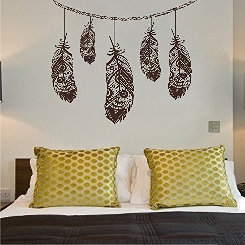 Amazon.com: Wall Decal Decor Feather Wall Decal- Bohemian Bedroom ...