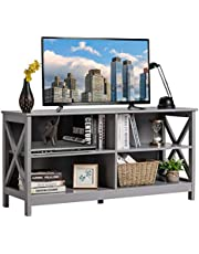 KOTEK Wooden TV Stand with Storage Shelves, Industrial TV Stand for TVs up to 55 Inches, 3-Tier Entertainment Center TV Console Table for Living Room, Bedroom