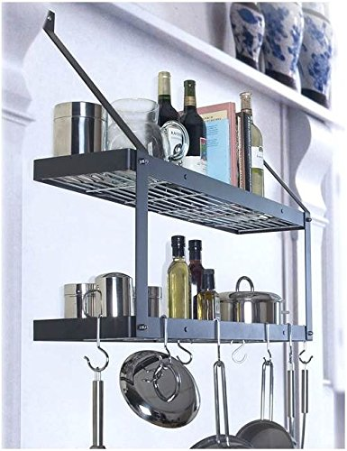 Rogar International Wall Mounted Pot Rack, model 8544 - hammered copper with copper accessories