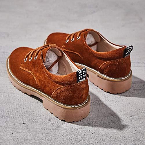 givr Couleur Tout Chaussures Le Petit Chemin Tie Les Simple Automne Britannique Ping Femmes Fort Kphy Pour Camel Anciens Aux Cuir En Retour Style Lace Loisirs qYxrYSt