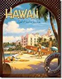 Travel Poster Tin Metal Sign : Hawaii Land of Surf & Sunshine by Kerne Erickson, 13x16 by Poster Discount