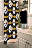 Pittsburgh Steelers COMBO Shower Curtain, Matching Shower Curtain Rings & Set of (Four) Appliqué Bath Towels with Team Logo - Decorate your Bathroom & SAVE ON BUNDLING!