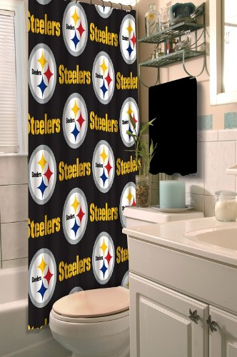 Pittsburgh Steelers COMBO Shower Curtain Matching Rings Set Of Four