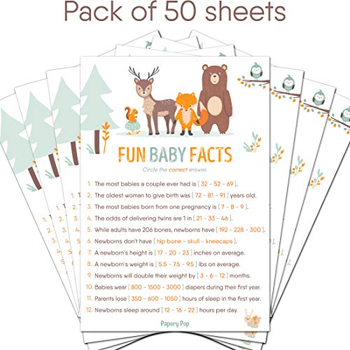 Fun Baby Facts Game Cards Pack Of 50 Baby Shower Games Import