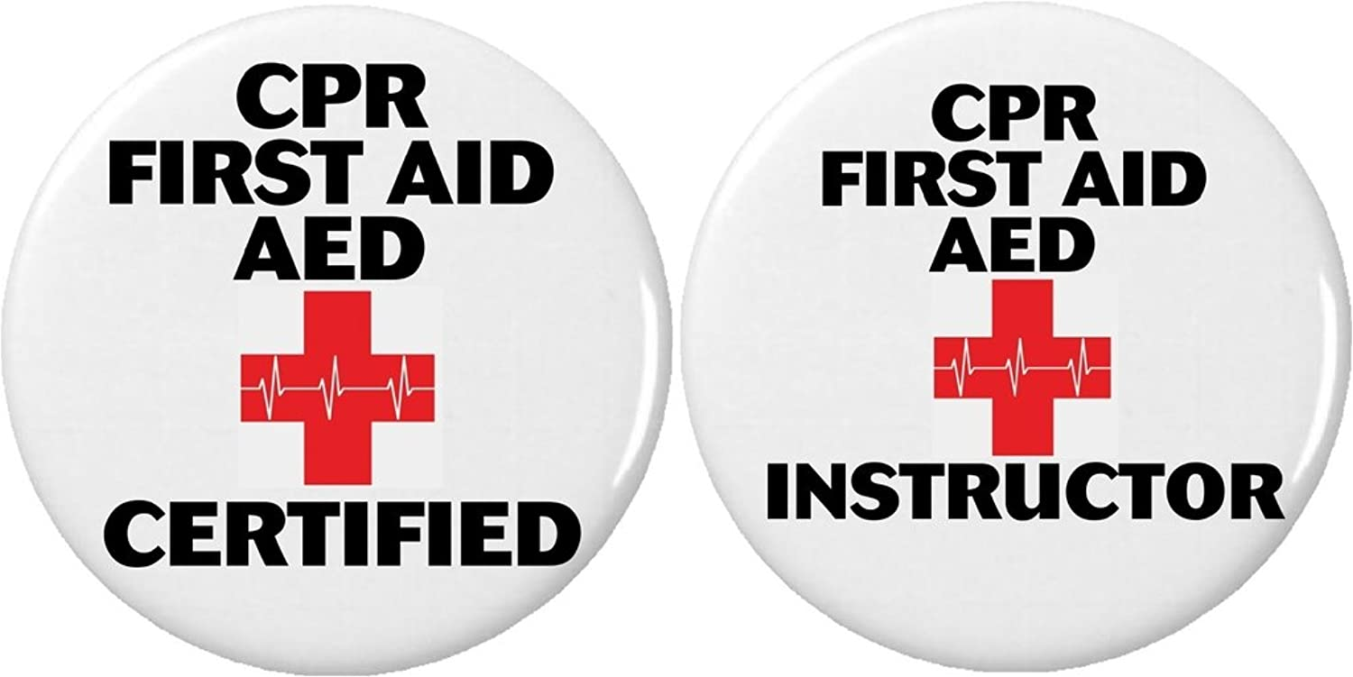Amazon set 2 cpr first aid aed certified instructor buttons amazon set 2 cpr first aid aed certified instructor buttons pins emergency rescue clothing 1betcityfo Images