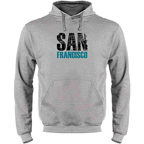 San Francisco California Retro Map Travel Heather Gray XL Mens Fleece Hoodie ()