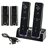 Theo&Cleo BLACK CHARGER STATION+RECHARGEABLE BATTERY+INFRARED RAY SENSOR BAR FOR WII