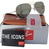 Ray-Ban RB3025 Classic Aviator Sunglasses Gold/Crystal Green (L0205) RB 3025 58mm