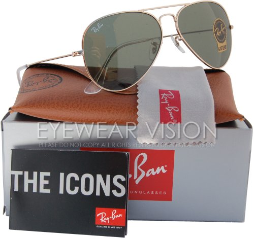Ray-Ban RB3025 Classic Aviator Sunglasses Gold/Crystal Green (L0205) RB 3025 - Gold Rayban
