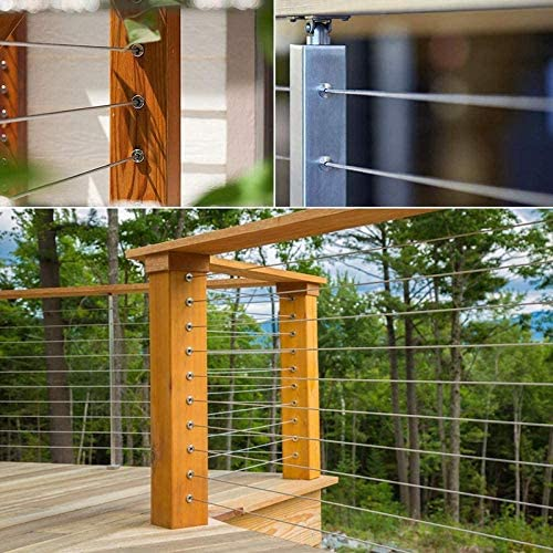 DIY Balustrade T316 Marine Grade 55 Pack Wood Posts WOVELOT Stainless Steel Protector Sleeves for 1//8 Cable Railing