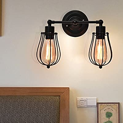 Tangkula Wall Sconce 2 Light Industrial Vintage Style Indoor Outdoor Wall Lamp Bar Loft Wire Cage with Bulbs