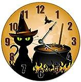 "10.5"" CARTOON WITCH CAT AND CAULDRON Clock - Large 10.5"" Wall Clock - Home Décor Clock"