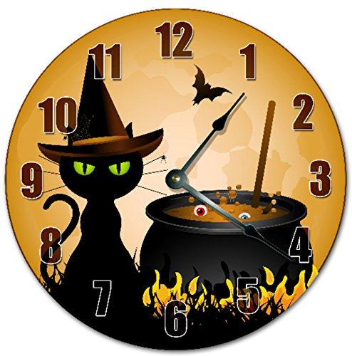 Orange Halloween wall clocks - black cat wall clocks - Halloween decor