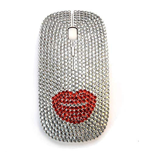 Optical Wireless Mouse Silver Rhinestone Bling USB Slimline Flat Computer Laptop Mouse (Red Lips)