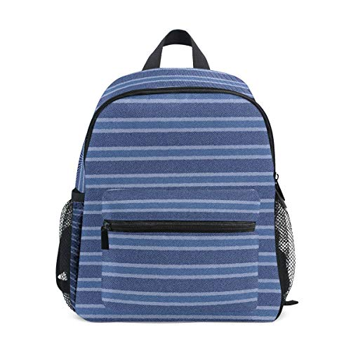 - Blue Mosaic Stripe Denim Pattern 10 Inch Kid's Backpack, Toddler Backpack, Pre-School Kindergarten Toddler Bag, Perfect for School or Travel&Daycare for Teen Boys and Girls