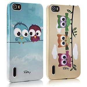 tinxi® Dos Fundas de silicona para Huawei Honor 6 Caso de silicona TPU caso de la cubierta de la contraportada de silicona protectora caso con el dibujo de dos lechuas y la familia de las lechuzas